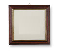 Wooden frame on white with shadow Stock Photos