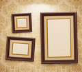 Wooden frames on the wal Stock Photography