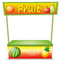 A wooden fruit cart illustration of on white background Stock Image