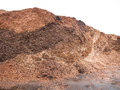 Wooden fuel storage pile of wood chips ready to be spread Royalty Free Stock Images