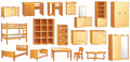 Wooden furniture set vector illustration various commode bookshelf dresser bunk bed cot shoe case chair table desk wardrobe Stock Photography