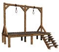Wooden gallows d render of Stock Photography
