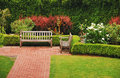 Wooden garden benches Royalty Free Stock Photography