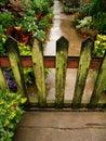 Wooden garden gate & lichen