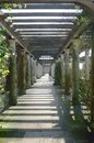 Wooden garden passage way Royalty Free Stock Photo