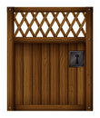 A wooden gate door illustration of on white background Stock Photo