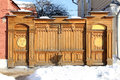 Wooden gate fragment of carved architecture on streets of kolomna russian winter Royalty Free Stock Images