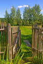 Wooden gate to the garden Royalty Free Stock Images