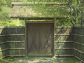 Wooden gate traditional straw fence and old in japanese zen garden Stock Images