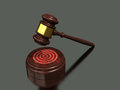Wooden gavel golden and with dark background symbolize the right decision Stock Photos