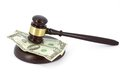 Wooden gavel and money on white background Stock Images