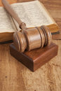 Wooden gavel and old book Royalty Free Stock Photo
