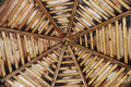 Wooden gazebo ceiling view of the beam octagon of the Stock Image