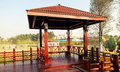 Landscaping gazebo pavilion in park Royalty Free Stock Photo