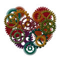 Wooden gears forming heart shape illustration color stained isolated on white background Stock Image