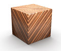 Wooden geometric shapes cube isolated on white background Royalty Free Stock Photos