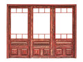 Wooden glazed panel of a store front isolated Royalty Free Stock Photo