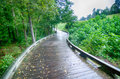 A wooden golf pathway bridge curves around trees Royalty Free Stock Photo