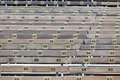 Wooden grandstand seats with numbers horizontal shot Royalty Free Stock Photo