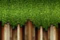 Wooden on green artificial turf pattern ,texture for background Royalty Free Stock Photo