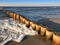 Wooden groynes at the beach of the german baltic sea Royalty Free Stock Photography