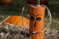 Wooden Halloween Pumpkin Head Royalty Free Stock Images
