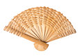 Wooden hand fan isolated on white Royalty Free Stock Photo