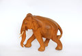 Wooden handmade elephant statue isolated on white Royalty Free Stock Photo