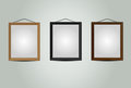 Wooden hanging frames for picture or photo textured vector Royalty Free Stock Photos