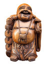 Wooden happy buddha isolated on white clipping path included Royalty Free Stock Photo
