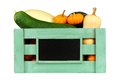 Wooden harvest crate with autumn vegetables over white Royalty Free Stock Photo
