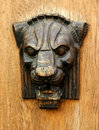Wooden head of lion Royalty Free Stock Images