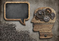 Wooden head with speech bubble blackboard Royalty Free Stock Photo