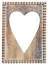 Wooden heart frame picture with shaped cutout Royalty Free Stock Images