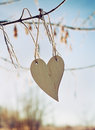 Wooden heart hanging on a tree branch against blue sky Royalty Free Stock Photo