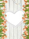 Wooden heart shape frame. EPS 10 Royalty Free Stock Photo