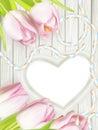 Wooden heart shape frame. EPS 10 Royalty Free Stock Photo