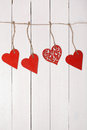 Wooden heart on a string valentine s day love card Stock Images
