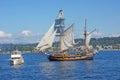 Wooden hermaphrodite brig hawaiian chieftain kirkland washington sep the sails on lake washington during a mock sea battle as part Royalty Free Stock Photography