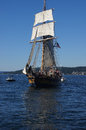 Wooden hermaphrodite brig hawaiian chieftain kirkland washington sep the sails on lake washington during a mock sea battle as part Royalty Free Stock Photos