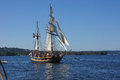 Wooden hermaphrodite brig hawaiian chieftain kirkland washington sep the sails on lake washington during a mock sea battle as part Royalty Free Stock Images
