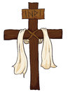 Wooden holy cross with fabric and inri sign vector illustration a around it a text in white background Royalty Free Stock Photos