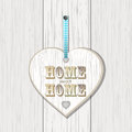 Wooden home sign on white wood Royalty Free Stock Photo
