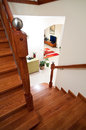 Wooden home stairs Stock Photos