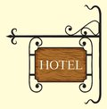 Wooden hotel door sign vector illustration of Royalty Free Stock Photos