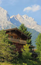 Wooden house in the Austrian mountains Royalty Free Stock Photo