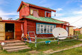 Wooden house, central Mongolia Royalty Free Stock Photo