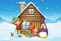 A wooden house with an elf and a penguin illustration of Royalty Free Stock Images