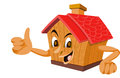 Wooden House with a Face, illustration Royalty Free Stock Photos