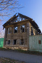 The wooden house after the fire Royalty Free Stock Photo